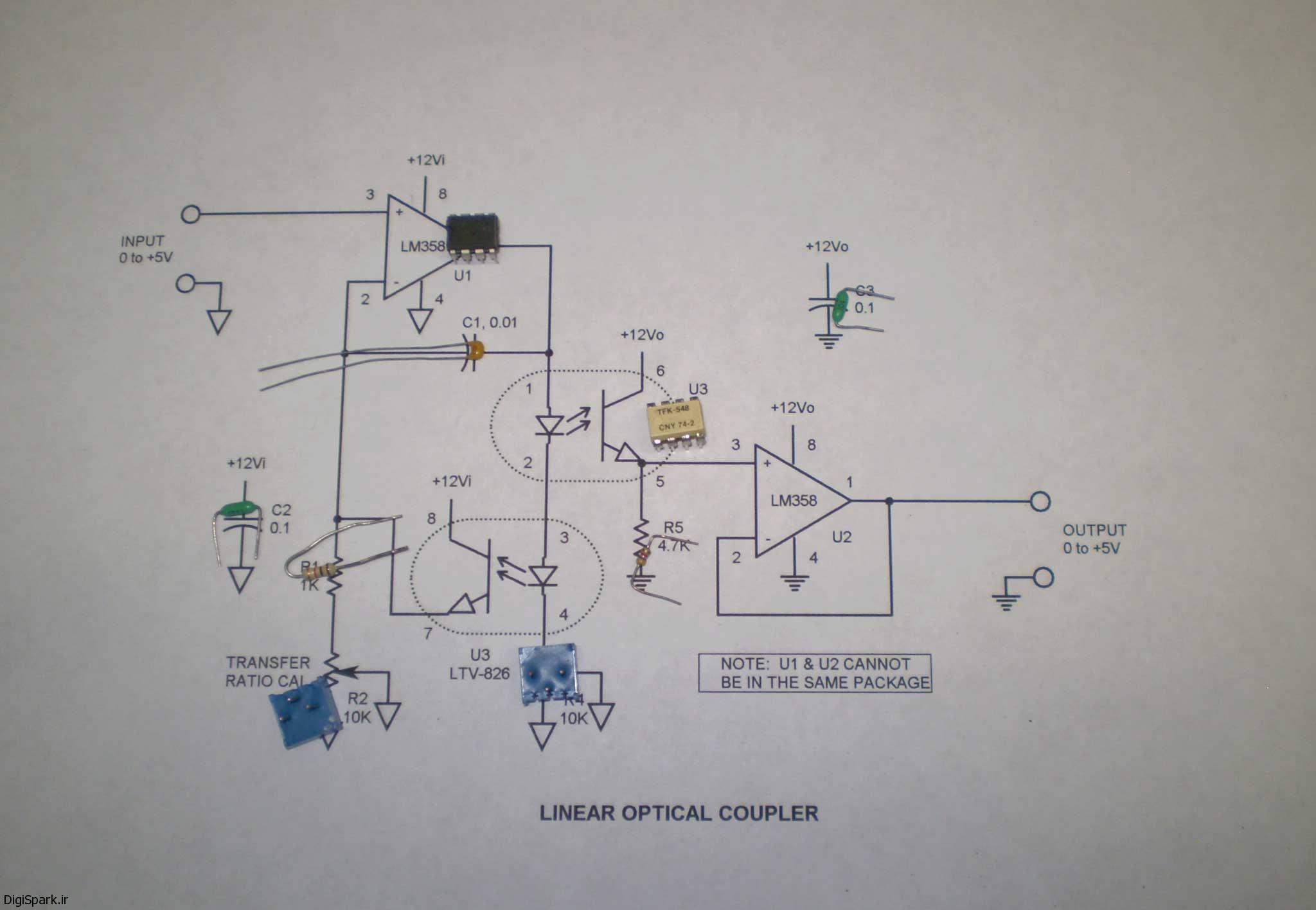 مدار اپتوکوپلر برای سیگنال دی سی خطی -دیجی اسپارک