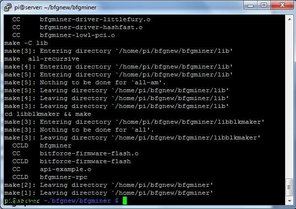 نصب BFGminer برای بیت کوین در رزبری پای