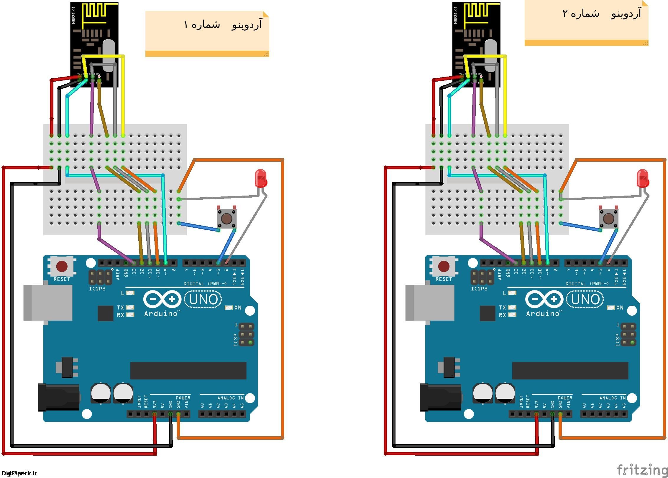 اتصالات دو عدد ماژول nrf24l01 به دو عدد آردوینو
