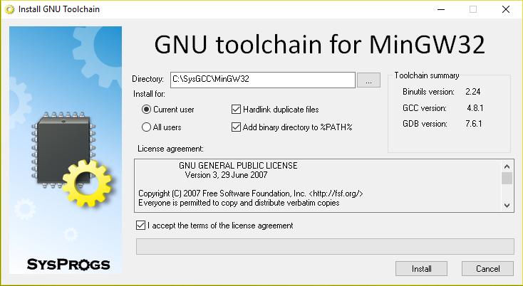 نصب ابزار MinGW toolchain
