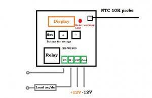 شماتیک مدار کنترلر دما XH-W1209