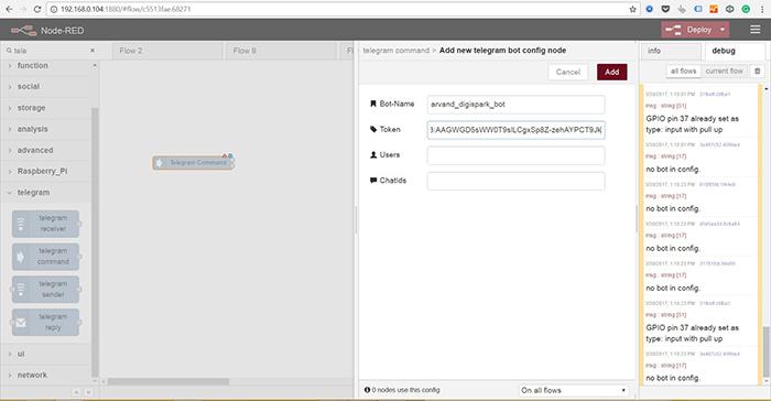 نود تلگرام کامند در نود رد - node red-raspberry pi-digispark-2