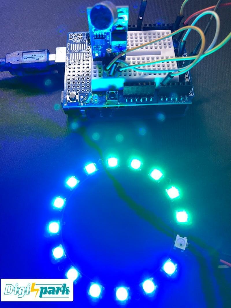 ماژول حلقه ال ای دی LED Neopixel و صوت سنج با آردوینو