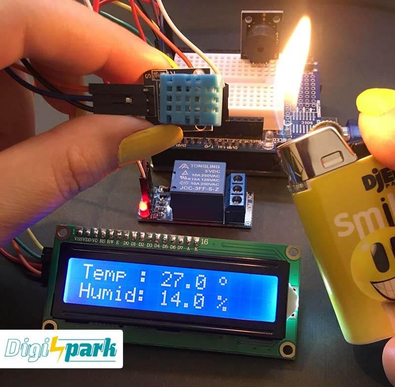 مدار دماسنج ترموستات با آردوینو Arduino و سنسور DHT11 - دیجی اسپارک