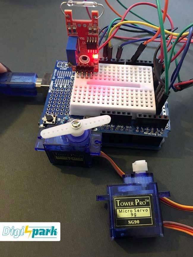 آموزش مدیریت سرو موتور با سنسور میدان مغناطیسی Reed switch - دیجی اسپارک