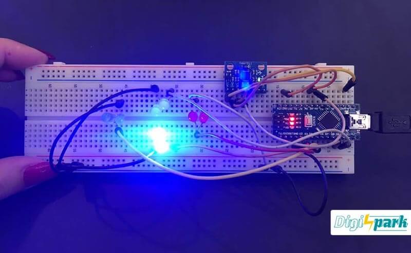 پروژه کنترل LED با آردوینو نانو و ماژول شتاب و ژایرو MPU6050 - دیجی اسپارک