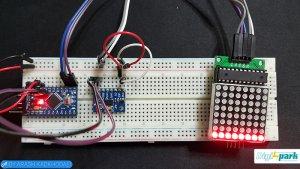 مدار ترازسنج با ماژول ADXL345 و ماژول دات ماتریس Arduino nano-دیجی اسپارک