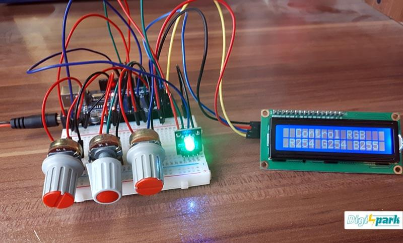 ایجاد نور توسط LED RGB آردوینو با پتانسیومتر و نمایش LCD کاراکتری - دیجی اسپارک