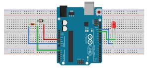 شماتیک پروژه ldr فتوسل با آردوینو Arduino uno and ldr - دیجی اسپارک