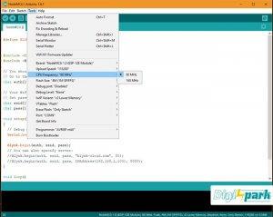 تنظیمات Cpu frequency برد Nodemcu در نرم افزار آردوینو - دیجی اسپارک