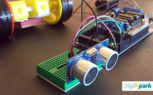 هوشمند سازی ربات با مدار تشخیص مانع آلتراسونیک SRF و درایور موتور L293D - دیجی اسپارک