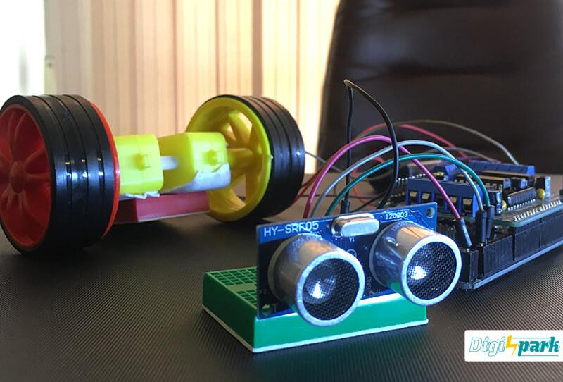 تشخیص مانع با آردوینو Arduino درایور موتورL293 و ماژول آلتراسونیک SRF - دیجی اسپارک