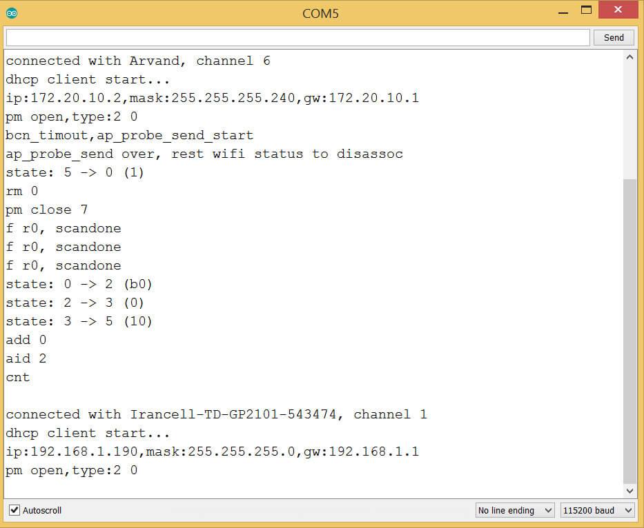 اتصال برد Nodemcu به چند وای فای - digispark