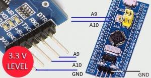 اتصالات ماژول مبدل USB to TTL به برد STM32 - دیجی اسپارک