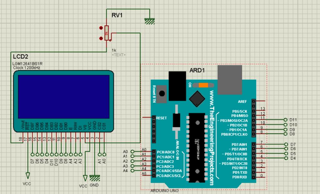 شماتیک اتصالات LCD گرافیکی 128x64 به برد آردوینو - دیجی اسپارک