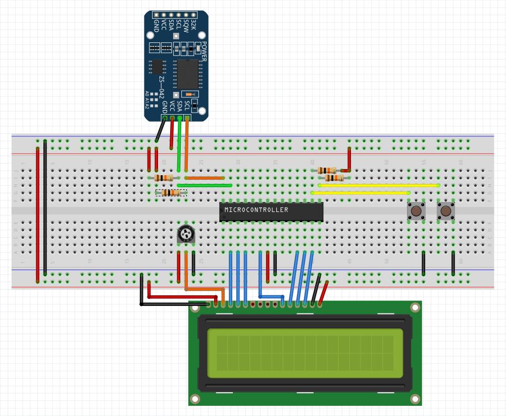 اتصالات پروژه ساعت فوق دقیق با ساعت DS3231 و نمایشگر LCD و تراشه Atmega8 - دیجی اسپارک
