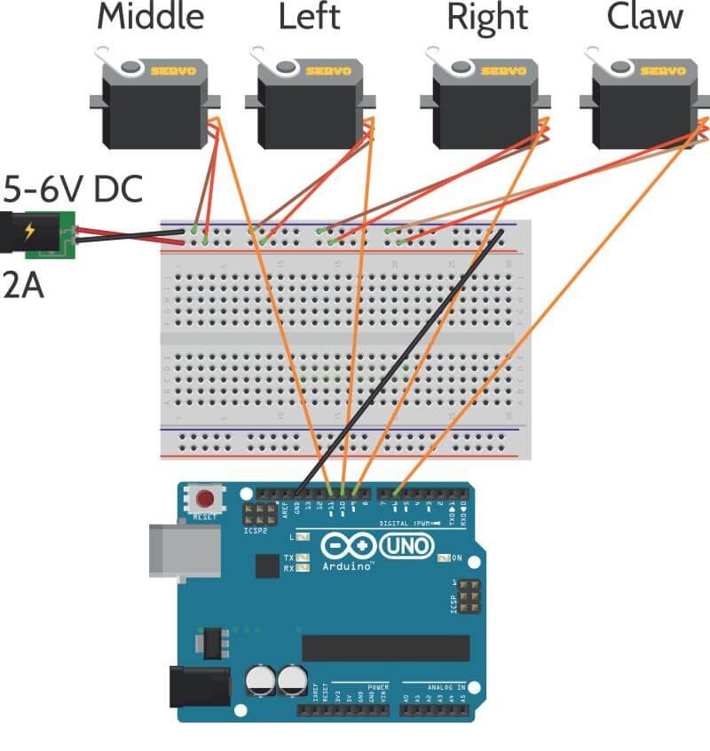 راهنمای اتصالات برد ربات بازوی meArm