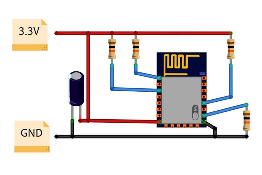 اتصالات به پایه ماژول ESP8266 12X - دیجی اسپارک