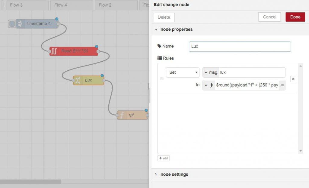 تنظیمات نود Change برای دریافت پارامتر Lux سنسور GY-30 - دیجی اسپارک