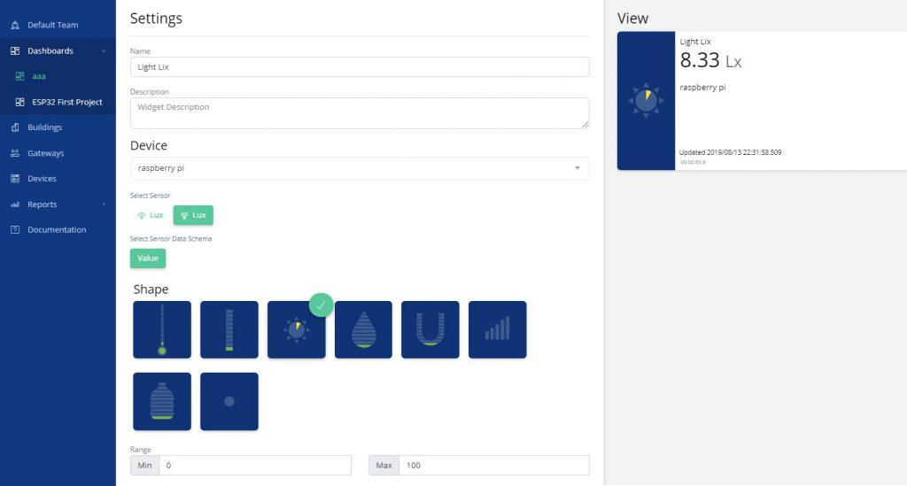 تنظیمات داشبورد در پلتفرم IoT uBeac - دیجی اسپارک