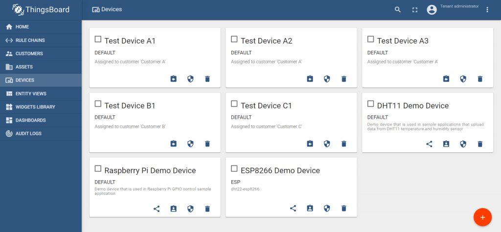 بخش تنظیمات Devices در پلتفرم تینگزبرد Thingsboard