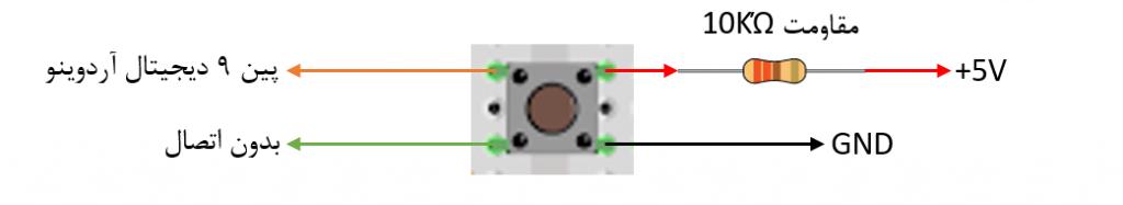 اتصالات پوش باتن در بازی سنجش زمان آردوینو - دیجی اسپارک