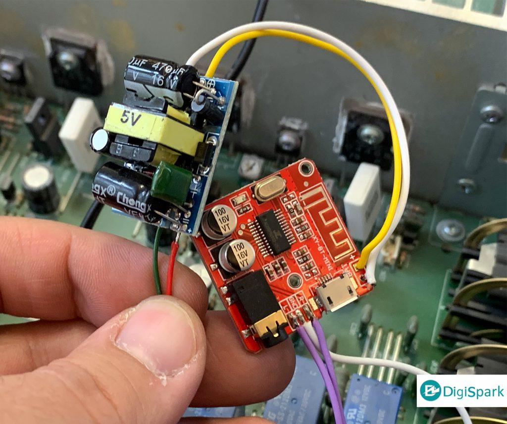 تبدیل ضبط صوت قدیمی به مدل بلوتوثی با ماژول بلوتوث و کاهنده ولتاژ - دیجی اسپارک
