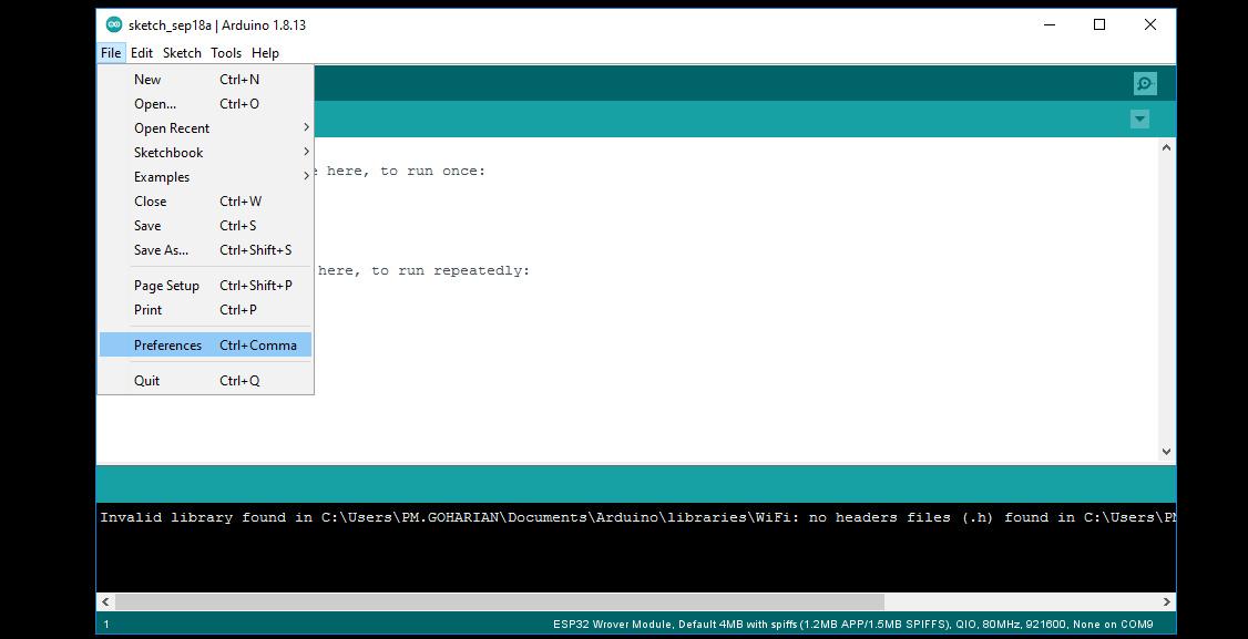 تنظیمات نرم افزار آردوینو IDE برد ESP32 - دیجی اسپارک