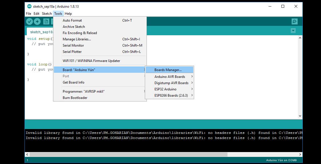 انتخاب برد ESP32 در نرم افزار آردوینو IDE - دیجی اسپارک