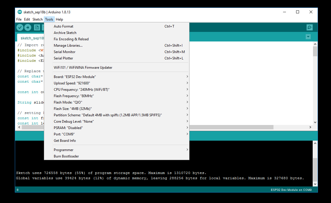 تنظیمات Tools برای برد ESP32 در نرم افزار آردوینو - دیجی اسپارک