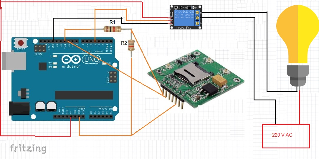 شماتیک اتصالات ماژول سیم کارت Sim808 به برد آردوینو - دیجی اسپارک