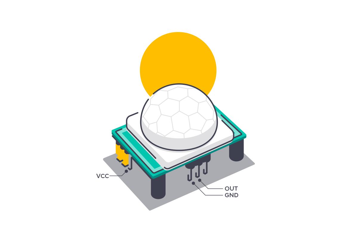شماتیک اتصالات سنسور PIR تشخیص حرکت - دیجی اسپارک