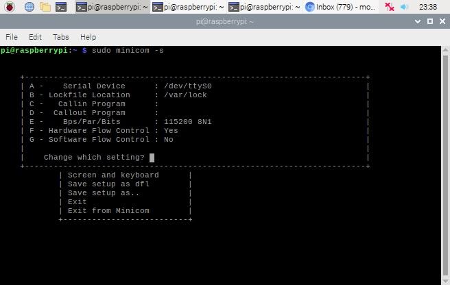تنظیمات نرم افزار minicom در رزبری پای - دیجی اسپارک