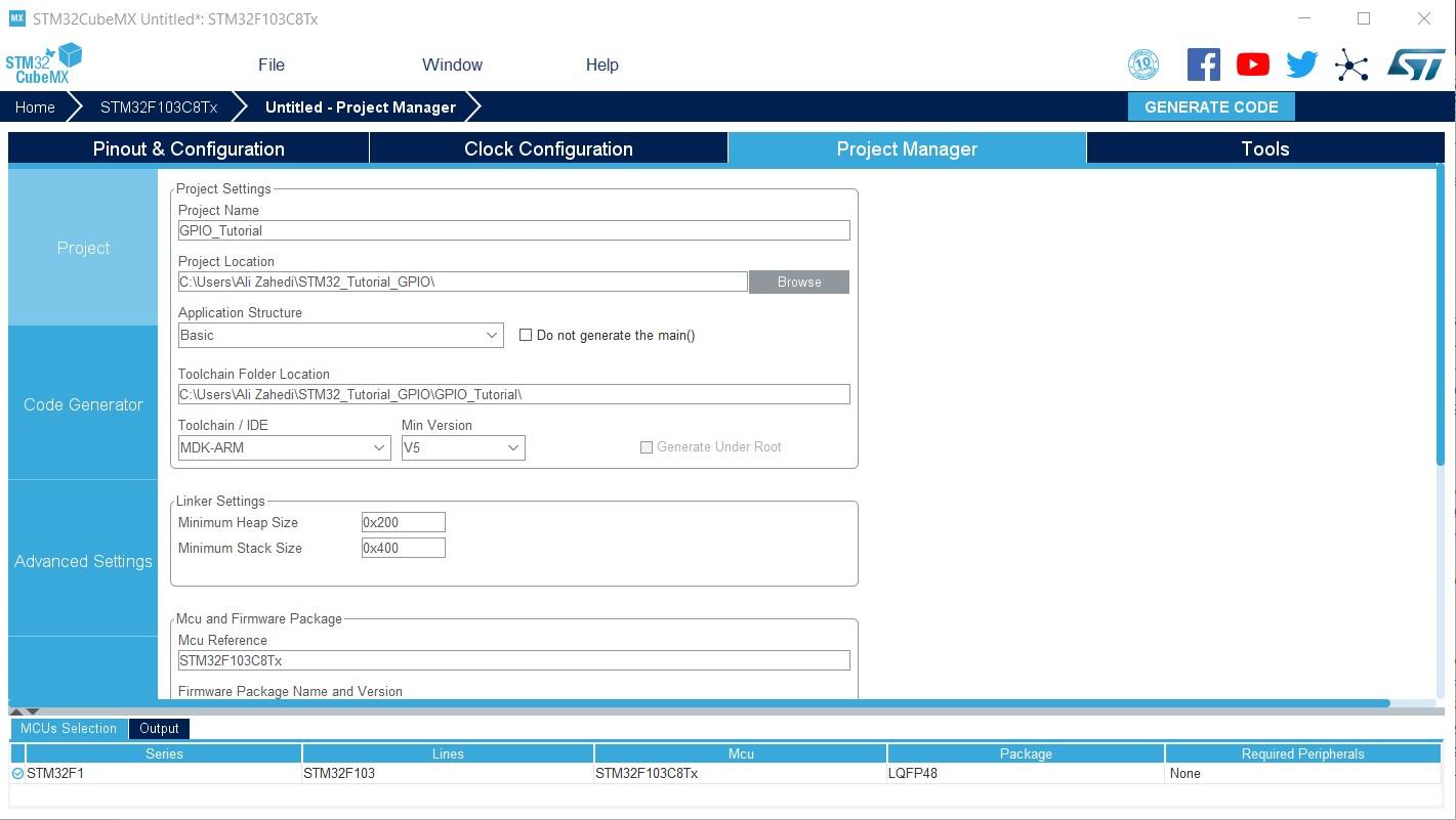بخش STM32CubeMX Project Manager در نرم افزار اس تی ام - دیجی اسپارک