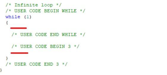 قسمت های مشخص شده برای کد نویسی برد STM32 - دیجی اسپارک