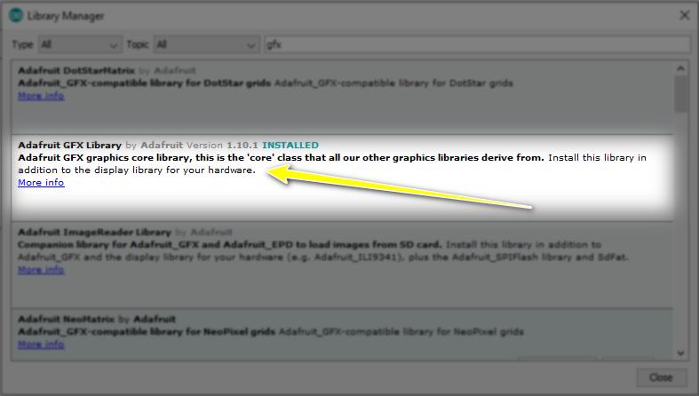 نصب کتابخانه GFX نمایشگر OLED - آردوینو - دیجی اسپارک