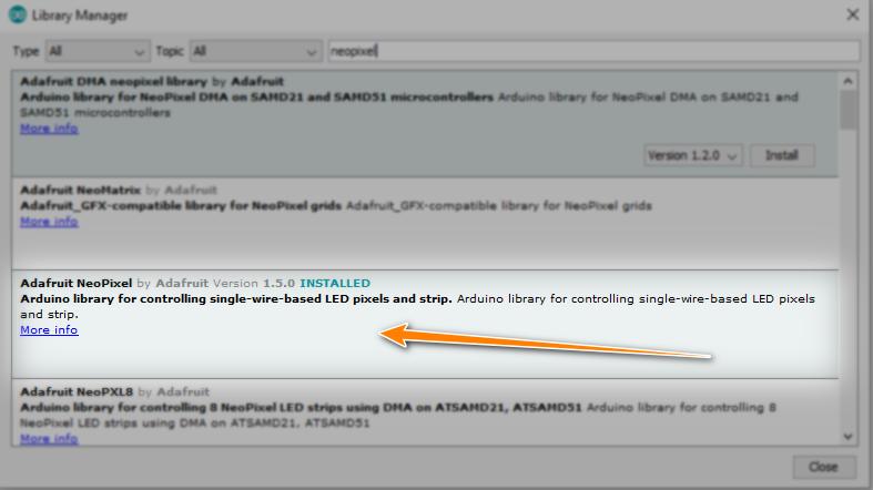 نصب کتابخانه LED Neopixel در نرم افزار آردوینو IDE - دیجی اسپارک