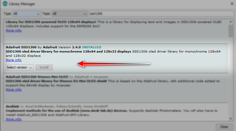 نصب کتابخانه OLED SSD1306 آردوینو - دیجی اسپارک