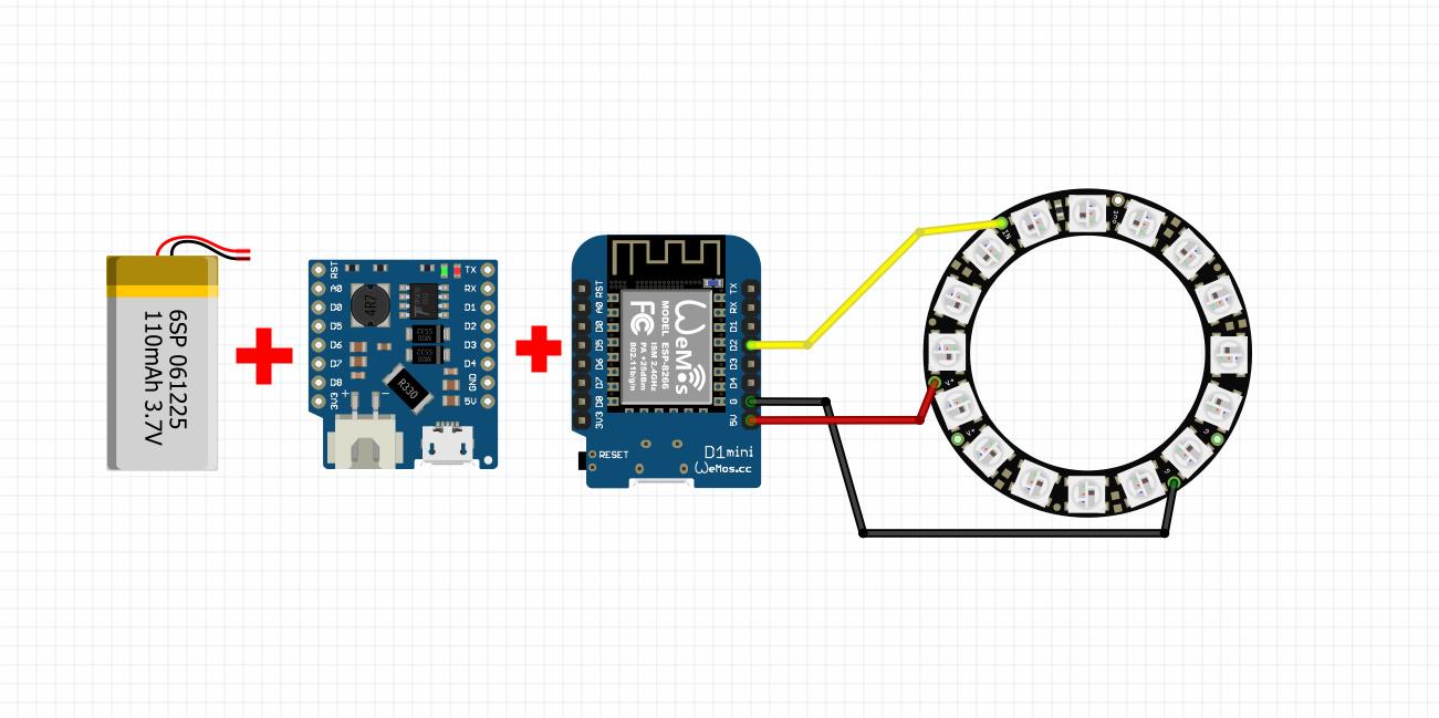 اتصالات برد ویموس wemos D1 mini به شیلد شارژر باتری و نئوپیکسل