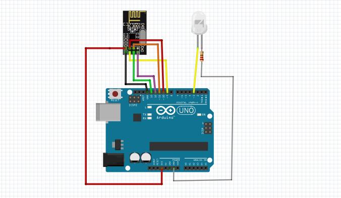 شماتیک اتصالات برای بخش گیرنده کار با برد NRF24L01 - دیجی اسپارک