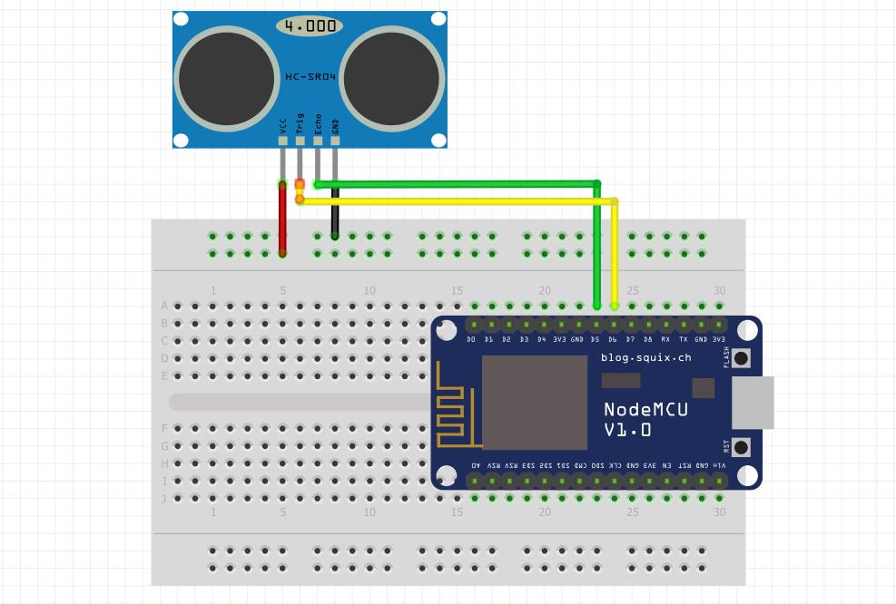شماتیک اتصال ماژول فاصله سنج SRF به برد Nodemcu - دیجی اسپارک