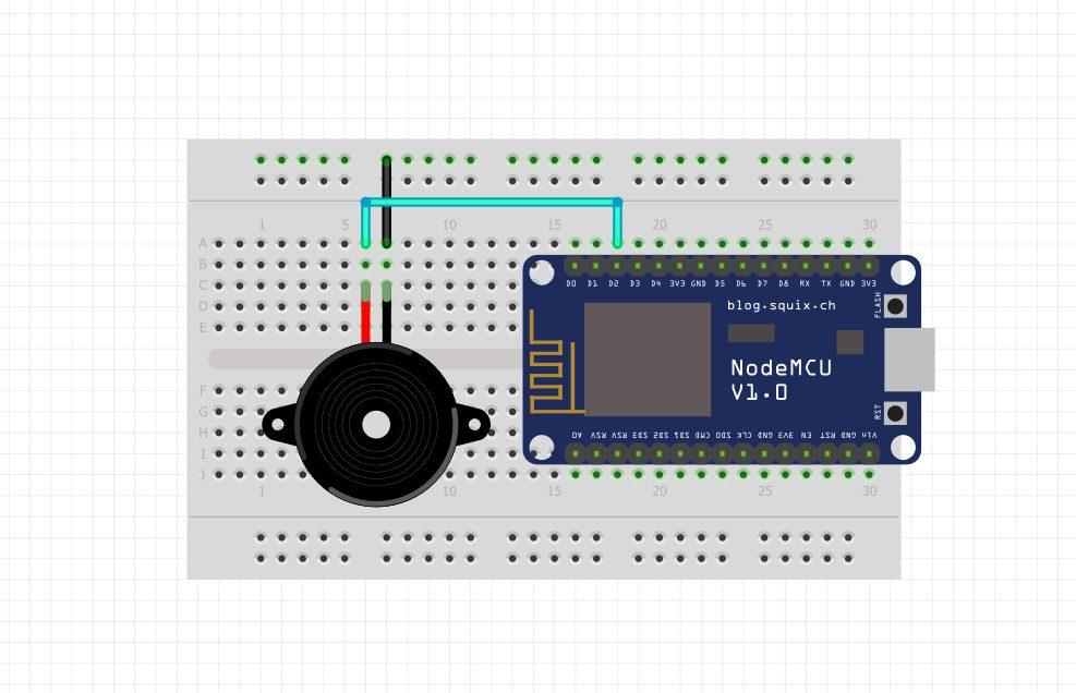 شماتیک اتصال Buzzer به برد Nodemcu - دیجی اسپارک
