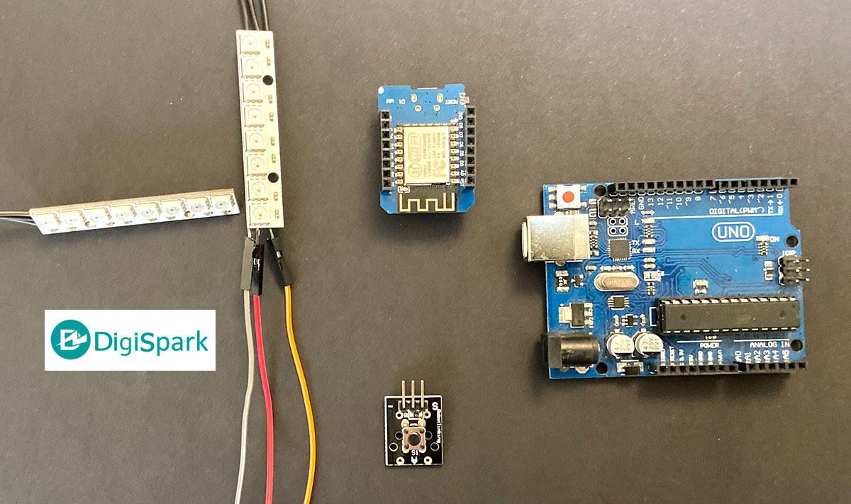 راه اندازی نوار ال ای دی 8X1 تراشه WS2812B RGB با بردهای آردوینو - دیجی اسپارک