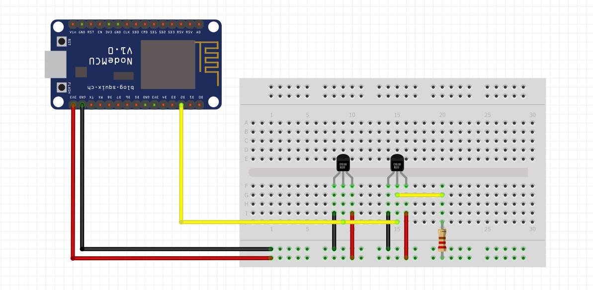 شماتیک اتصال چند سنسور DS18b20 به Nodemcu - دیجی اسپارک