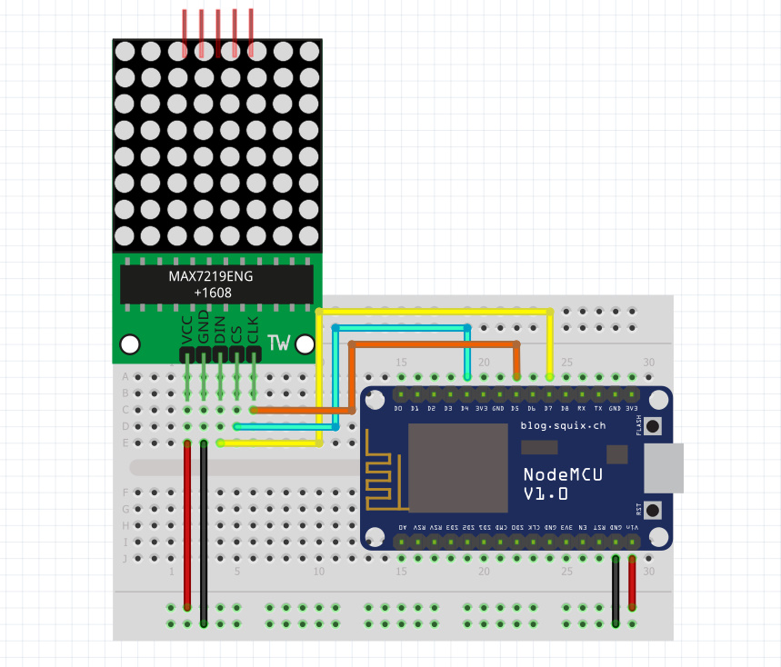 اتصالات ماژول دات ماتریس به برد ESP8266 Nodemcu - دیجی اسپارک