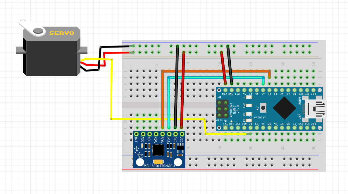 اتصالات پروژه کنترل سرو با ماژول MPU6050 - دیجی اسپارک
