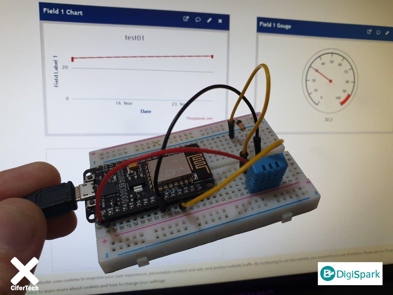 سنسور DHT11 و پلتفرم ThingSpeak با برد ESP8266 - دیجی اسپارک