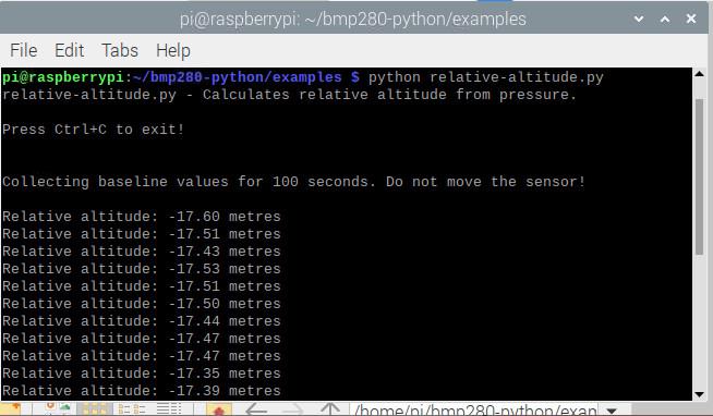 کد پایتون اندازه گیری ارتفاع نسبی در رزبری پای - دیجی اسپارک