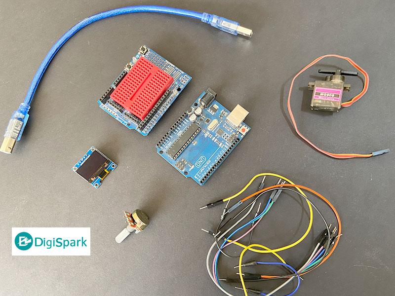 کنترل سرو موتور با آردوینو ولوم و نمایشگر OLED - دیجی اسپارک
