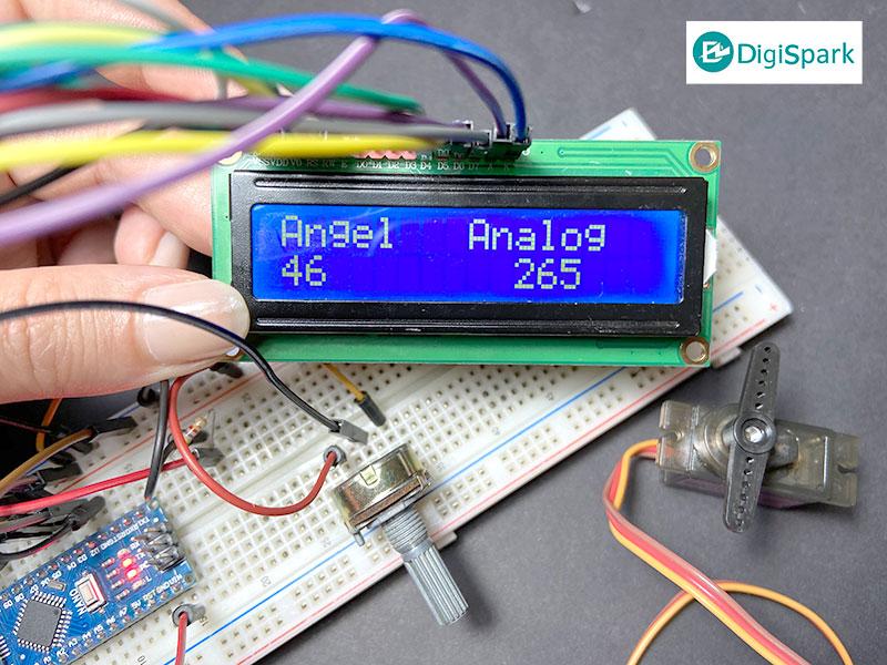 کنترل شافت سرو موتور با زاویه و ولوم نمایشگر LCD کاراکتری - دیجی اسپارک